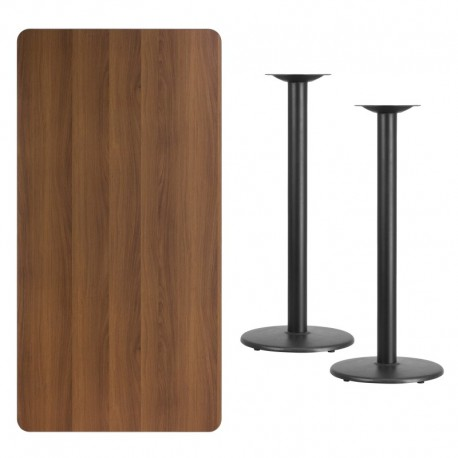 MFO 30'' x 60'' Rectangular Walnut Laminate Table Top with 18'' Round Bar Height Table Bases