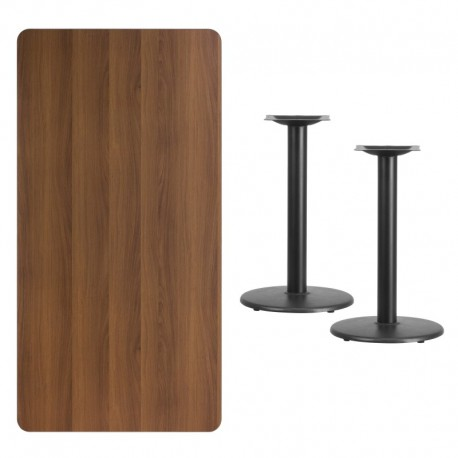 MFO 30'' x 60'' Rectangular Walnut Laminate Table Top with 18'' Round Table Height Bases