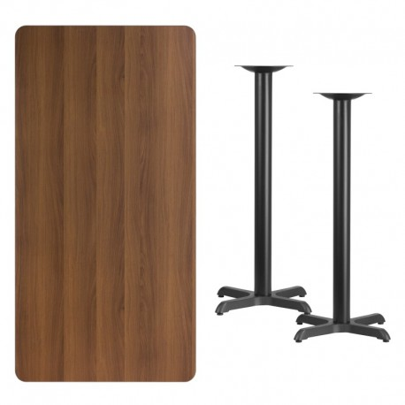 MFO 30'' x 60'' Rectangular Walnut Laminate Table Top with 22'' x 22'' Bar Height Table Bases