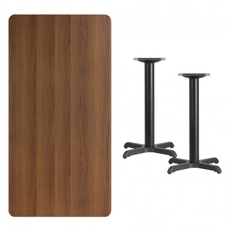 MFO 30'' x 60'' Rectangular Walnut Laminate Table Top with 22'' x 22'' Table Height Bases