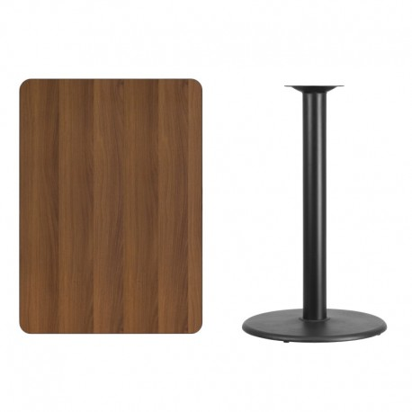 MFO 30'' x 42'' Rectangular Walnut Laminate Table Top with 24'' Round Bar Height Table Base