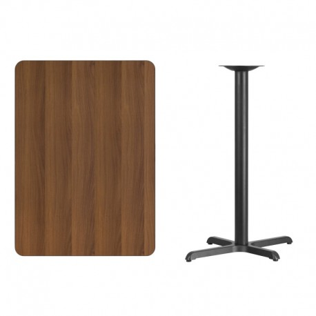 MFO 30'' x 42'' Rectangular Walnut Laminate Table Top with 22'' x 30'' Bar Height Table Base