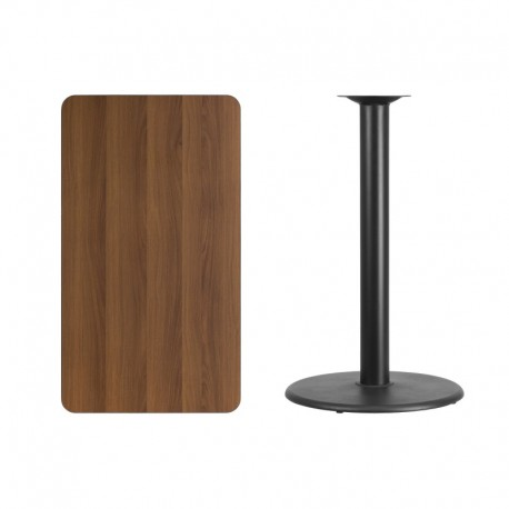 MFO 24'' x 42'' Rectangular Walnut Laminate Table Top with 24'' Round Bar Height Table Base