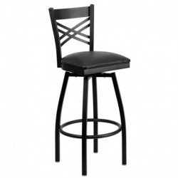 MFO Black ''X'' Back Swivel Metal Bar Stool - Black Vinyl Seat