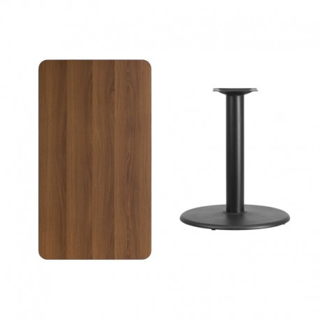 MFO 24'' x 42'' Rectangular Walnut Laminate Table Top with 24'' Round Table Height Base