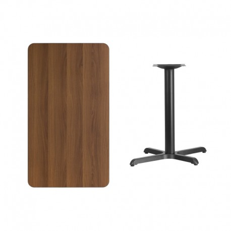 MFO 24'' x 42'' Rectangular Walnut Laminate Table Top with 22'' x 30'' Table Height Base