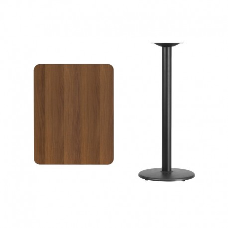 MFO 24'' x 30'' Rectangular Walnut Laminate Table Top with 18'' Round Bar Height Table Base