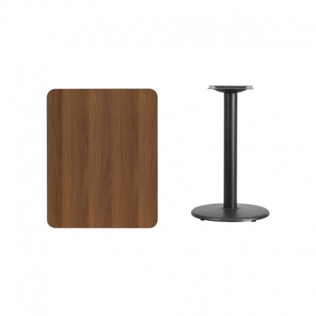 MFO 24'' x 30'' Rectangular Walnut Laminate Table Top with 18'' Round Table Height Base