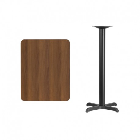 MFO 24'' x 30'' Rectangular Walnut Laminate Table Top with 22'' x 22'' Bar Height Table Base