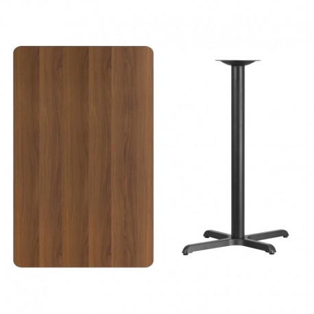 MFO 30'' x 48'' Rectangular Walnut Laminate Table Top with 22'' x 30'' Bar Height Table Base
