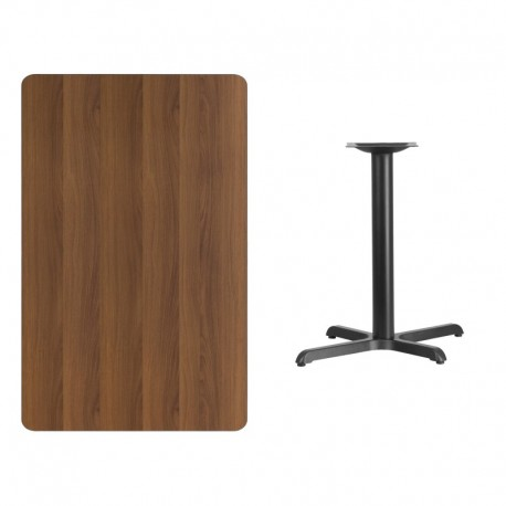 MFO 30'' x 48'' Rectangular Walnut Laminate Table Top with 22'' x 30'' Table Height Base