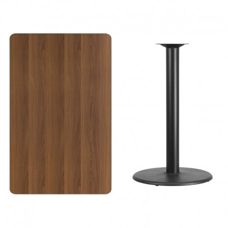 MFO 30'' x 48'' Rectangular Walnut Laminate Table Top with 24'' Round Bar Height Table Base
