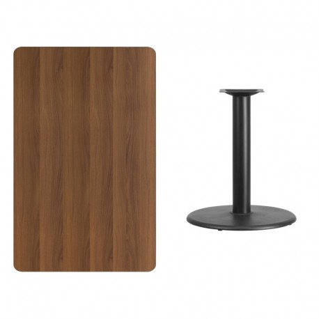 MFO 30'' x 48'' Rectangular Walnut Laminate Table Top with 24'' Round Table Height Base