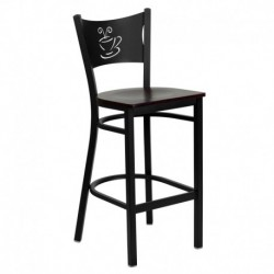 MFO Black Coffee Back Metal Restaurant Bar Stool - Mahogany Wood Seat