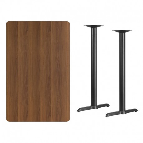 MFO 30'' x 48'' Rectangular Walnut Laminate Table Top with 5'' x 22'' Bar Height Table Bases
