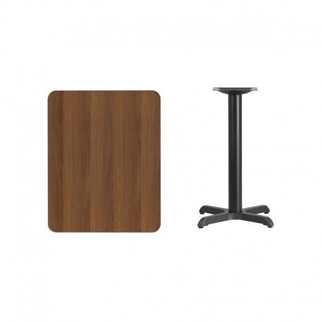 MFO 24'' x 30'' Rectangular Walnut Laminate Table Top with 22'' x 22'' Table Height Base