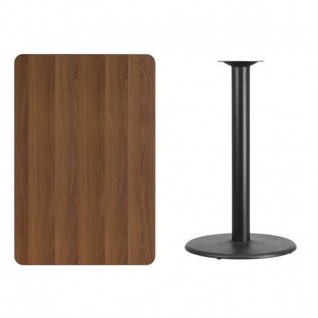 MFO 30'' x 45'' Rectangular Walnut Laminate Table Top with 24'' Round Bar Height Table Base