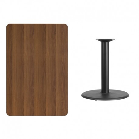 MFO 30'' x 45'' Rectangular Walnut Laminate Table Top with 24'' Round Table Height Base