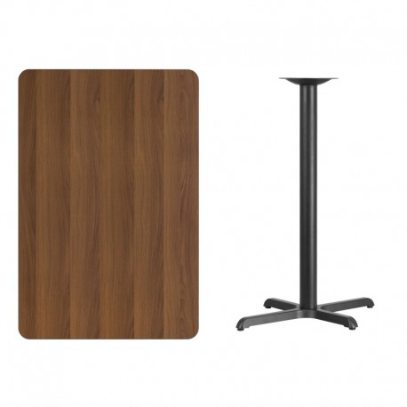 MFO 30'' x 45'' Rectangular Walnut Laminate Table Top with 22'' x 30'' Bar Height Table Base