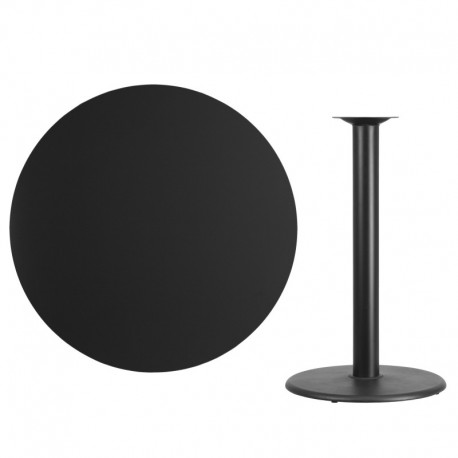 MFO 42'' Round Black Laminate Table Top with 24'' Round Bar Height Table Base