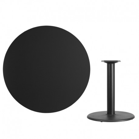 MFO 42'' Round Black Laminate Table Top with 24'' Round Table Height Base