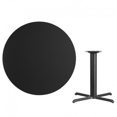 MFO 42'' Round Black Laminate Table Top with 33'' x 33'' Table Height Base