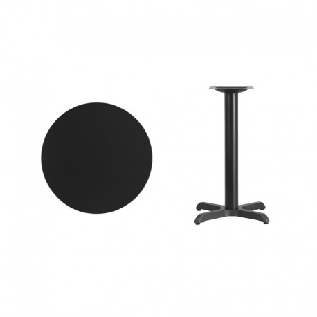 MFO 24'' Round Black Laminate Table Top with 22'' x 22'' Table Height Base