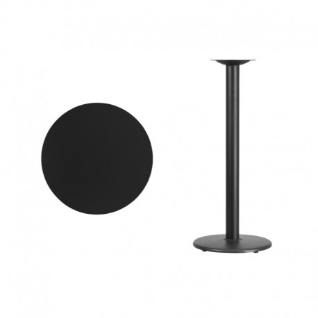 MFO 24'' Round Black Laminate Table Top with 18'' Round Bar Height Table Base