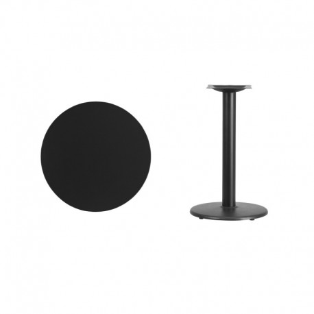 MFO 24'' Round Black Laminate Table Top with 18'' Round Table Height Base