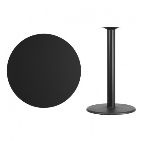 MFO 36'' Round Black Laminate Table Top with 24'' Round Bar Height Table Base