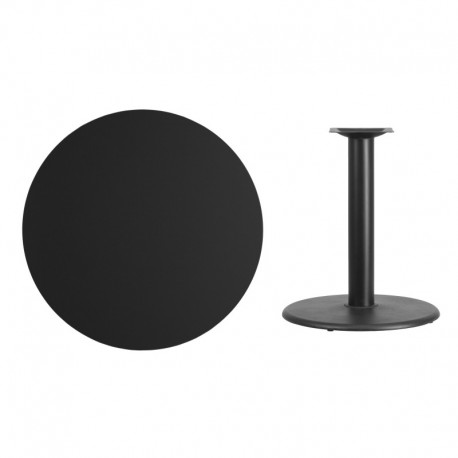 MFO 36'' Round Black Laminate Table Top with 24'' Round Table Height Base