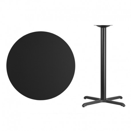 MFO 36'' Round Black Laminate Table Top with 30'' x 30'' Bar Height Table Base