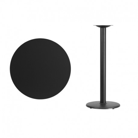 MFO 30'' Round Black Laminate Table Top with 18'' Round Bar Height Table Base