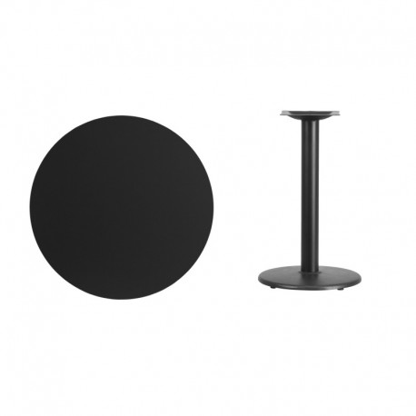 MFO 30'' Round Black Laminate Table Top with 18'' Round Table Height Base