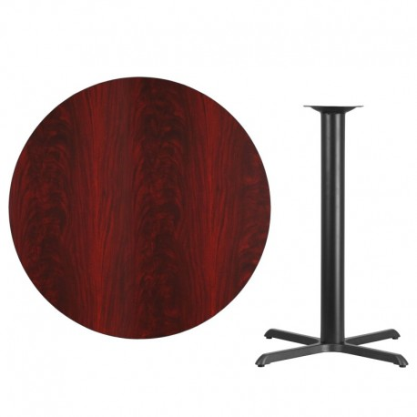 MFO 42'' Round Mahogany Laminate Table Top with 33'' x 33'' Bar Height Table Base