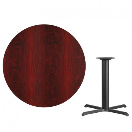 MFO 42'' Round Mahogany Laminate Table Top with 33'' x 33'' Table Height Base