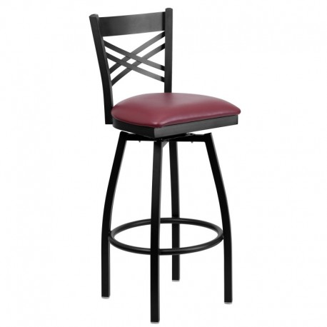 MFO Black ''X'' Back Swivel Metal Bar Stool - Burgundy Vinyl Seat
