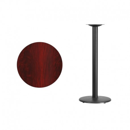 MFO 24'' Round Mahogany Laminate Table Top with 18'' Round Bar Height Table Base