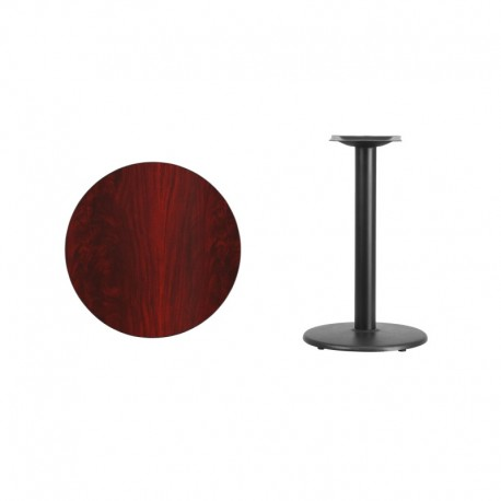 MFO 24'' Round Mahogany Laminate Table Top with 18'' Round Table Height Base
