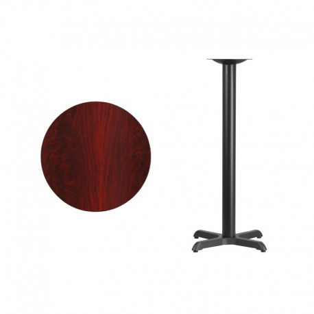 MFO 24'' Round Mahogany Laminate Table Top with 22'' x 22'' Bar Height Table Base