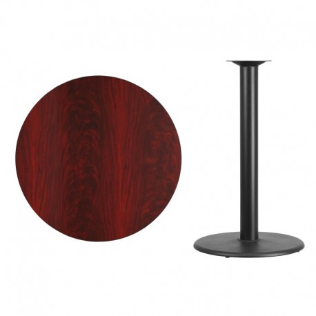 MFO 36'' Round Mahogany Laminate Table Top with 24'' Round Bar Height Table Base