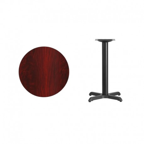 MFO 24'' Round Mahogany Laminate Table Top with 22'' x 22'' Table Height Base