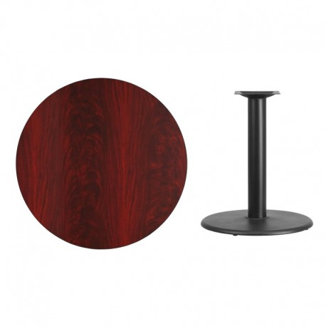 MFO 36'' Round Mahogany Laminate Table Top with 24'' Round Table Height Base
