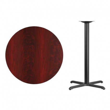 MFO 36'' Round Mahogany Laminate Table Top with 30'' x 30'' Bar Height Table Base