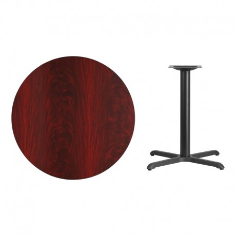 MFO 36'' Round Mahogany Laminate Table Top with 30'' x 30'' Table Height Base