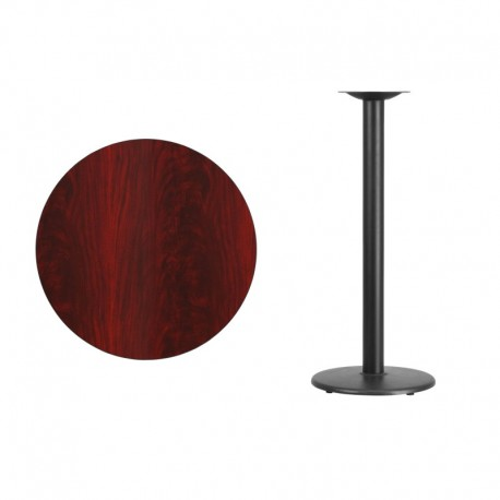 MFO 30'' Round Mahogany Laminate Table Top with 18'' Round Bar Height Table Base