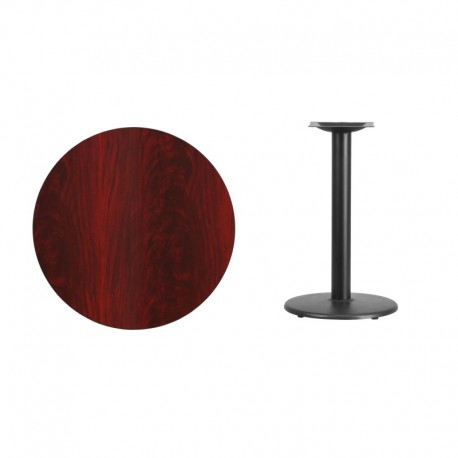 MFO 30'' Round Mahogany Laminate Table Top with 18'' Round Table Height Base