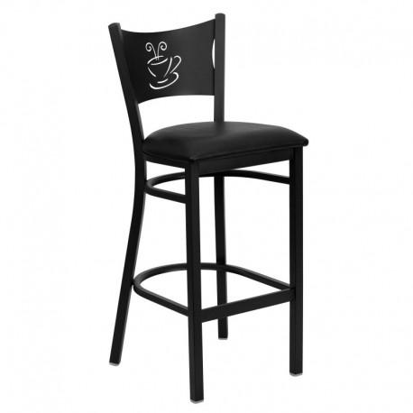 MFO Black Coffee Back Metal Restaurant Bar Stool - Black Vinyl Seat