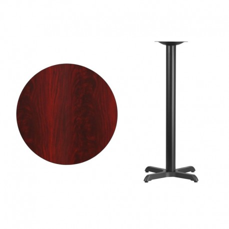 MFO 30'' Round Mahogany Laminate Table Top with 22'' x 22'' Bar Height Table Base