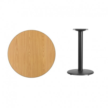 MFO 30'' Round Natural Laminate Table Top with 18'' Round Table Height Base